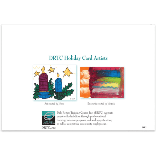 Back of Create Light holiday card showing the original artwork.