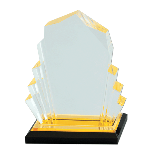 Blank gold-tinted Faceted Impress Acrylic award