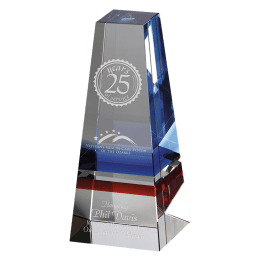 Engraved Infinity crystal award.