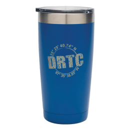 Blue 20 oz tumbler with DRTC's longitude & latitude coordinates.