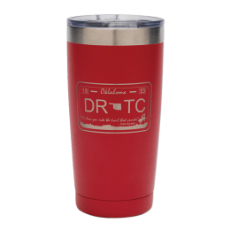Red 20 oz. tumbler with DRTC license plate design.