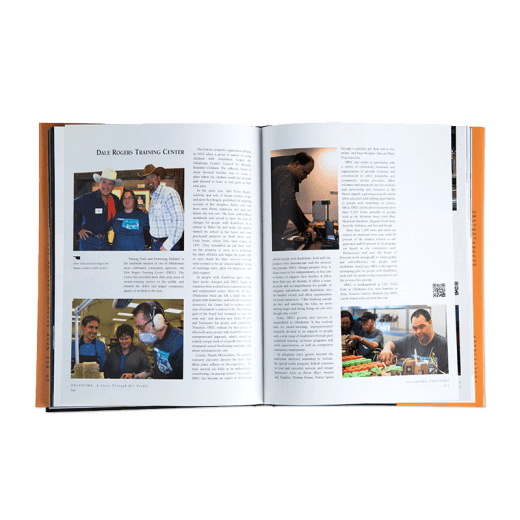 Inside of Oklahoma: A Story Through Her People showing two pages focusing on DRTC.