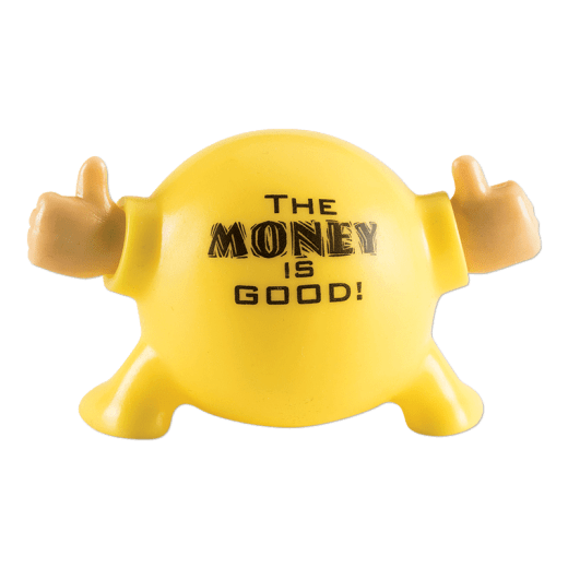 """Back of a yellow Poppin Pal. """"The money is good!"""""""