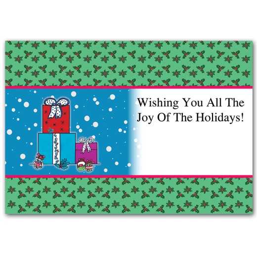 "Inside design of Presents holiday card. ""Wishing you all the joy of the holidays!"""