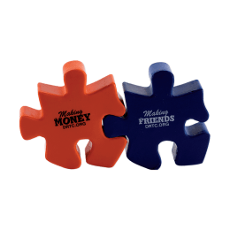 "An orange and a blue puzzle piece linked together. ""Making money DRTC.org"" and ""Making friends DRTC.org"""