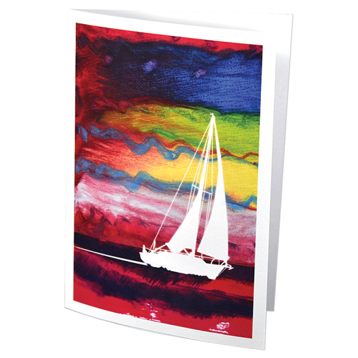 Greeting card featuring an encaustic design and silhoette of a sailboat.