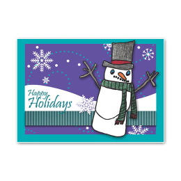 "A single snowman on a holiday card. ""Happy Holidays."""