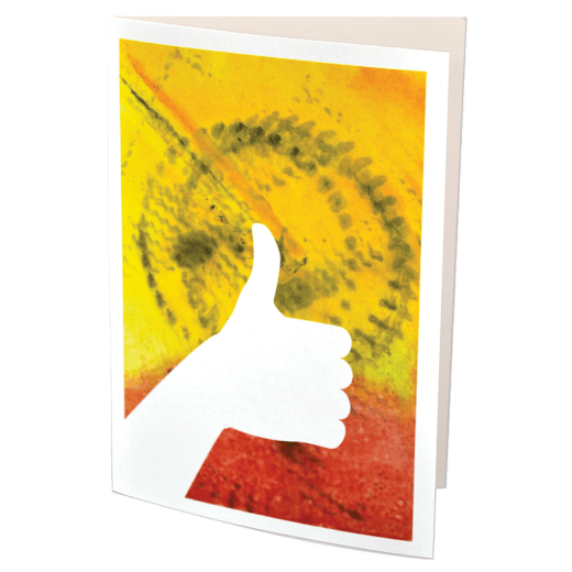 Greeting card featuring an encaustic design and a thumbs up silhoette.