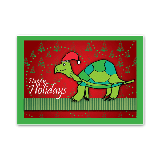 """Cover design of the Turtle Holiday Card. Message says """"Happy Holidays."""""""