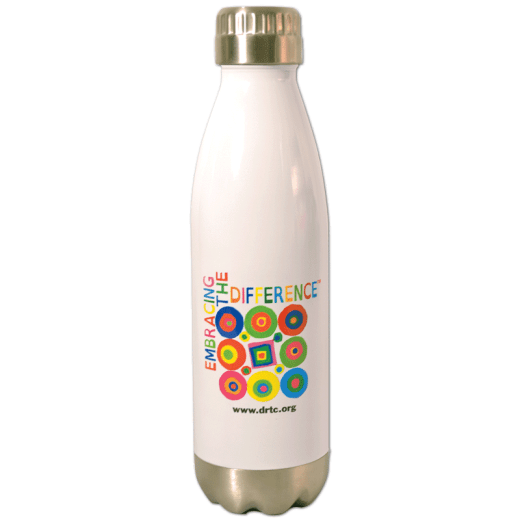 White water bottle with DRTC's Embracing the Difference® logo.