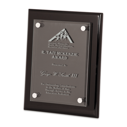 Sample engraving on Black Piano Finish Floating Plaque.