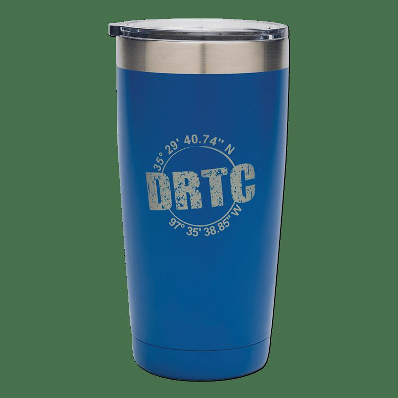 Blue DRTC tumbler.