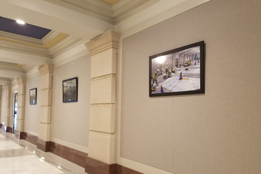 Three pictures framed by Wyman Frame, hung at the OK Capitol.