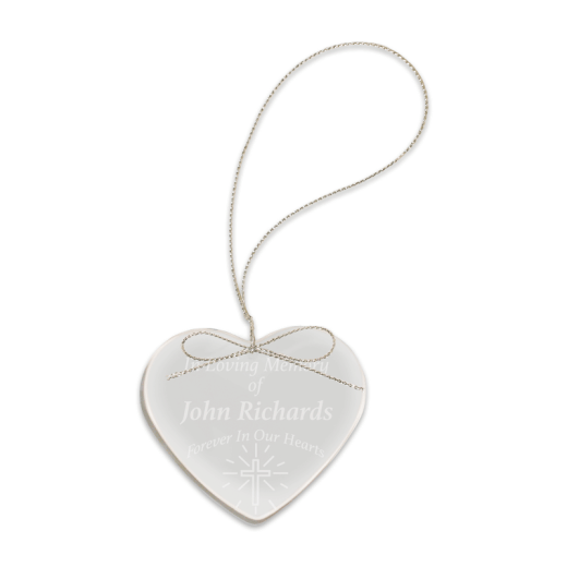 Sample engraving of crystal heart ornament.
