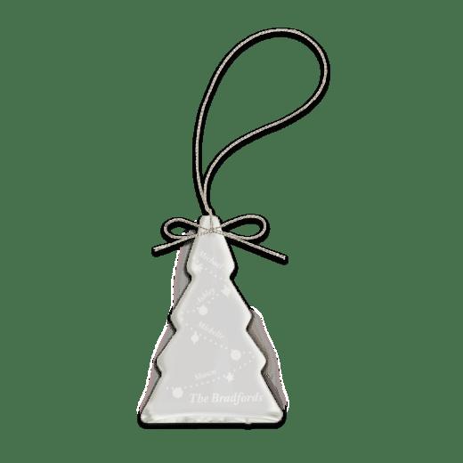 Sample engraving of crystal tree ornament.