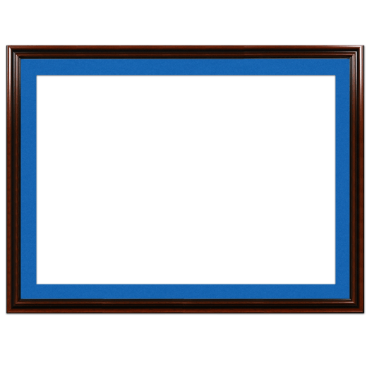 A mahogany picture frame with blue mat.