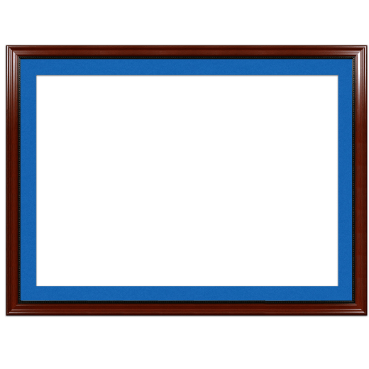 A mahogany with bead picture frame with blue mat.