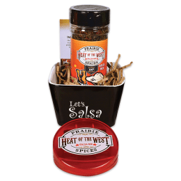 Heat of the West Salsa Set in a bowl, with a magnetic clip.