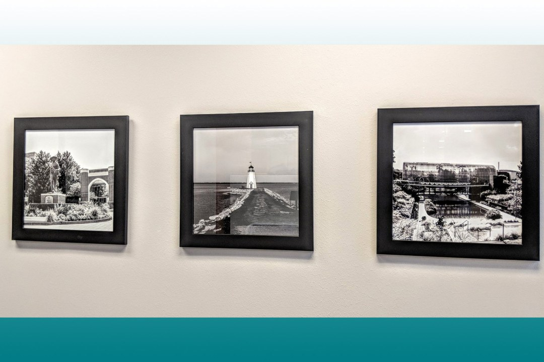 Three photos by IronLace Photography, framed by Wyman Frame, hung at OU Health Sciences Center.