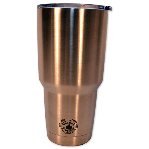 "Back design of silver 20 oz tumbler with the words ""Worker Approved since 1953 DRTC.org."""