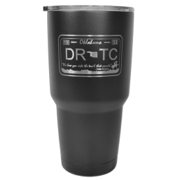 Front design of 30 oz. tumbler featuring DRTC license plate.