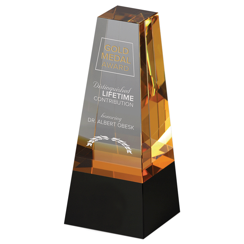 Crystal award with sample etching.