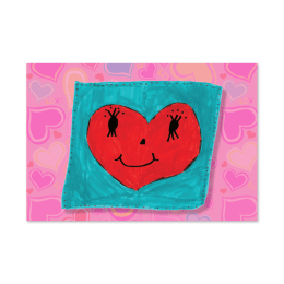 Front cover design of Valentine's Day card with a smiling heart.
