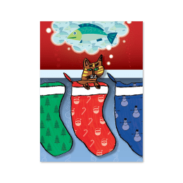 Front cover design of Wishes Come True showing a cat in a stocking dreaming of fish.