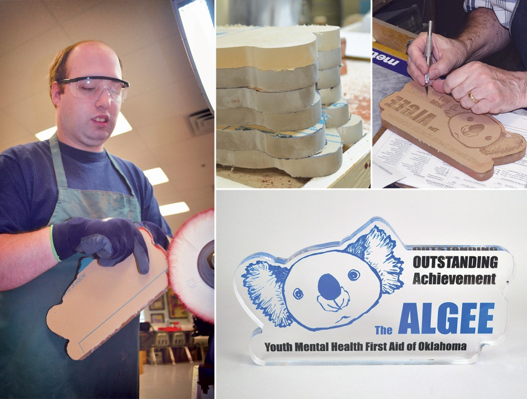 Collage of images showing the acrylic award making process, along with the finished product.