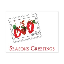 """Three red wreaths set in a stamp graphic. """"Seasons Greetings."""""""