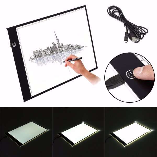 M.Way Ultra Thin A2 A3 LED Copy With USB Cable Adjustable Brightness Drawing Pad Copy board 1