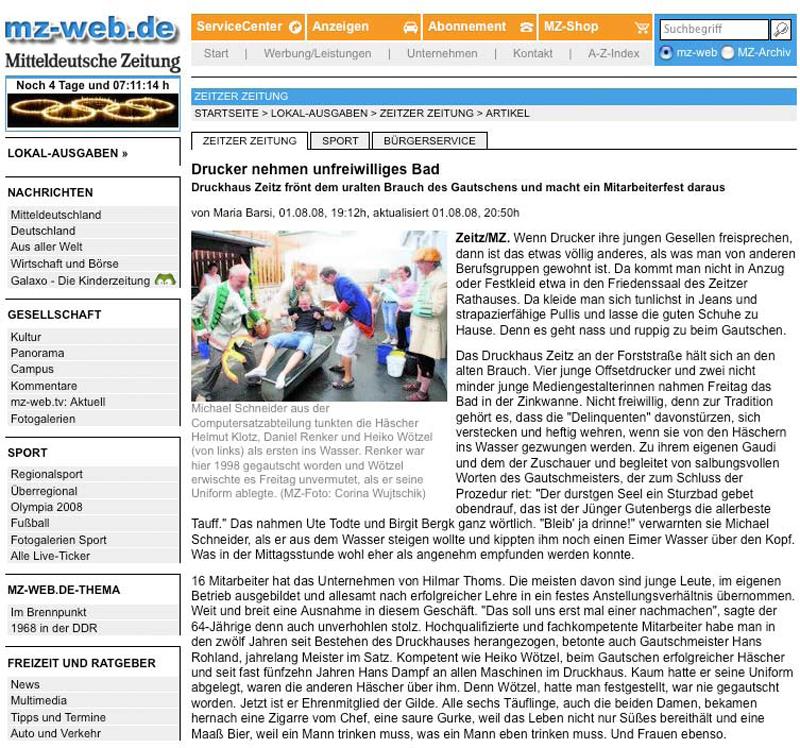 Zeitungsartikel Druckhaus Zeitz vom 1. August 2008