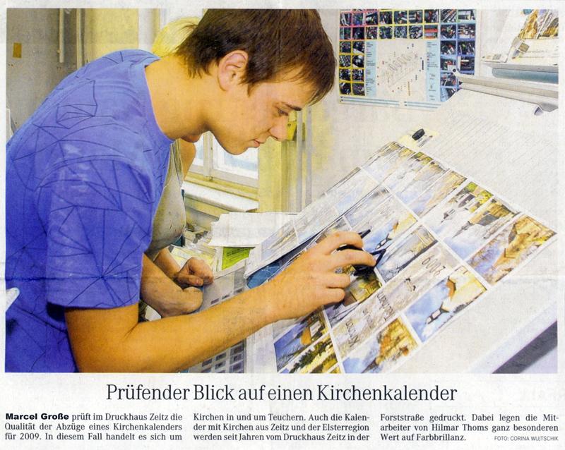 Zeitungsartikel Druckhaus Zeitz vom 5. November 2008