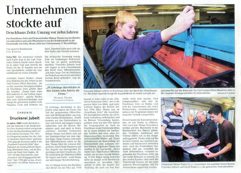 Zeitungsartikel Druckhaus Zeitz vom 10. Oktober 2006