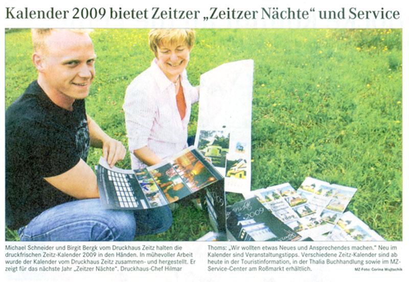 Zeitungsartikel Druckhaus Zeitz vom 26. August 2008
