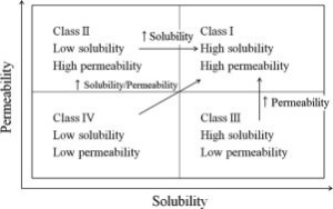 Figure 2 - BCS classification system and possible ways make most of molecules into Class I