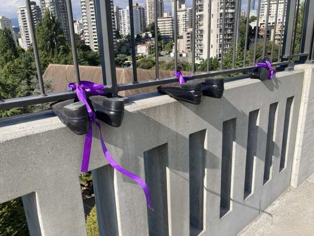 International Overdose Day Burrard Street Bridge Memorial by Moms Stop the Harm; Vancouver; Aug. 31, 2020