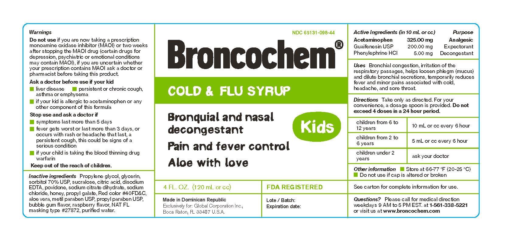 Broncochem Kids Cold And Flu Syrup Laboratorio Magnachem
