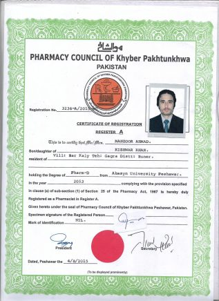 Manzoor Ahmad Pharmacy License