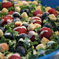 Red, White, And Bleu Kale Salad Recipe #SeeTheLite #ad