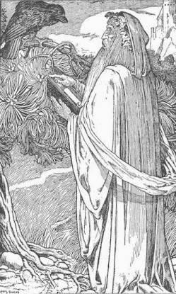 Merlin mit Rabe