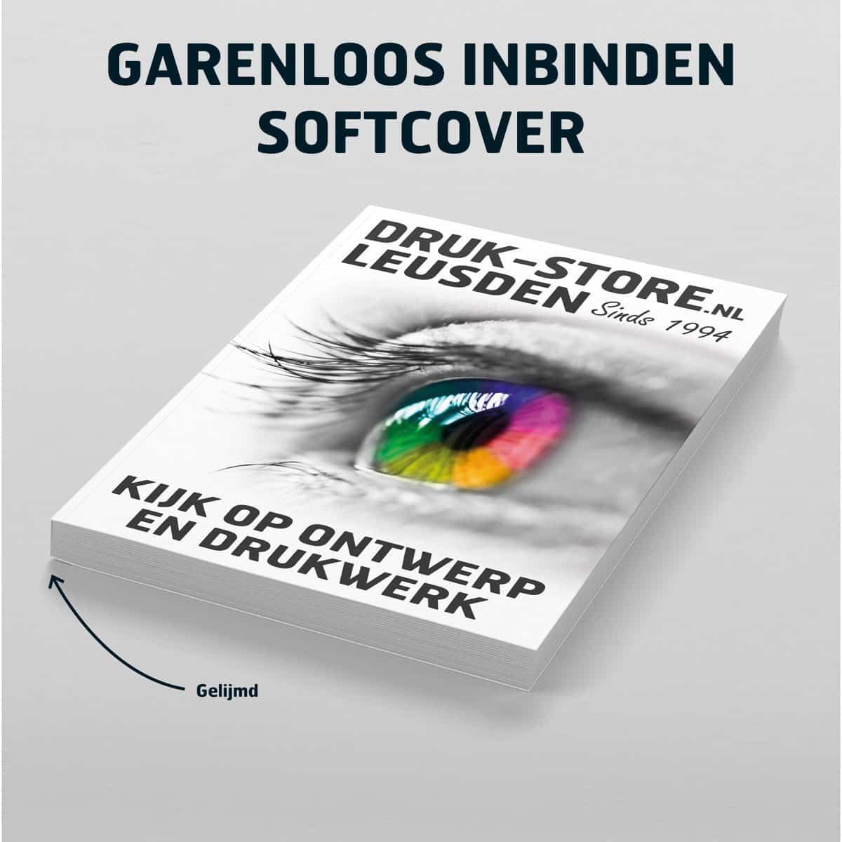Garenloos inbinden 'softcover' Druk-Store voorbeeldfoto