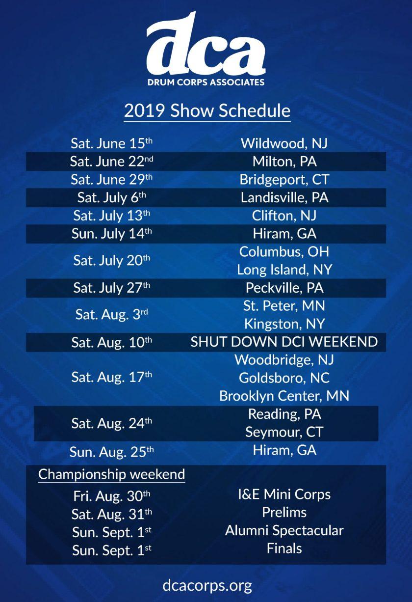 2019 DCA Schedule