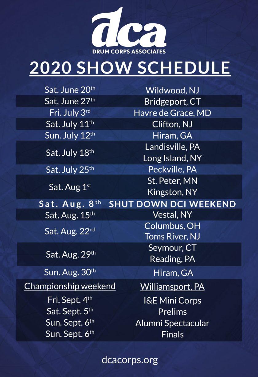 2020 DCA Schedule