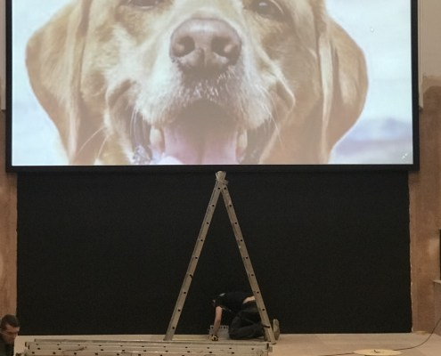 Large Format Wide Screen Video Projection Installation by Drummond AV Sound & Video System Installation Experts