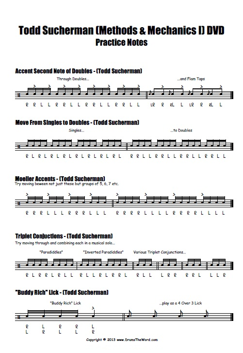 "Todd Sucherman ""Methods & Mechanics"" Drum Pracitce Notes (Page 1)"