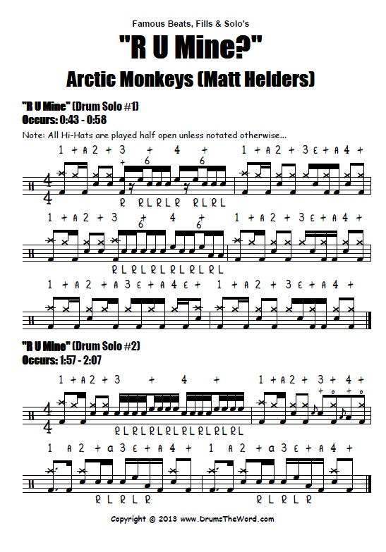 R U Mine? Arctic Monkeys Drum Chart Score