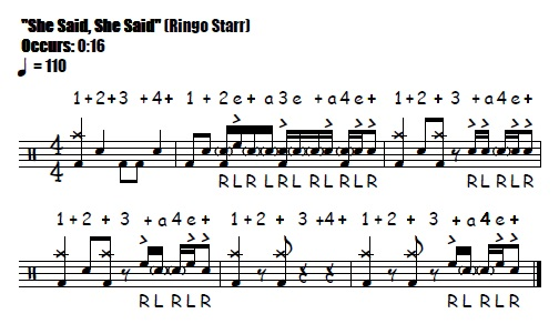 She Said, She Said Fill 0:16 Beatles & Ringo Starr - Drum Fill Transcription