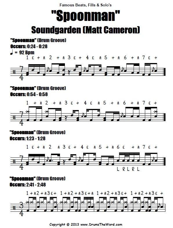 Spoonman Soundgarden Drum Beats Score Chart