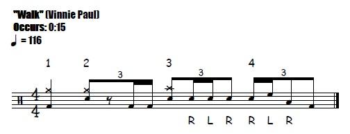 Walk Fill 0:15 Pantera Vinnie Paul - Drum Fill Transcription